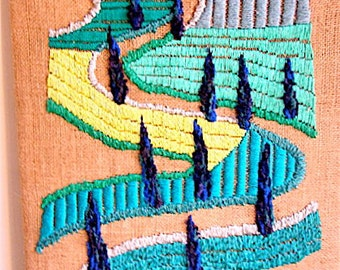 OOAK Wall Hanging Tapestry Embroidery by nerina52 Fiber Wall Art Tapestry Wall Hangings Landscape Modern art Wall decor Green Tuscany road