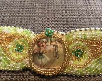 Seed Bead Bracelet, Made with Vintage Jewelry Pieces, Green Gold Wide Band Cuff Wristlet