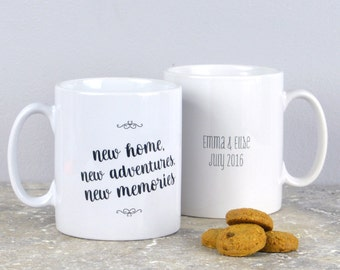 New home mugs - housewarming mugs, personalised new home mugs, set of 2