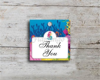 Thank You Tag, Bridal Shower, Thank You Note, Tags, Gift Tags, Stickers, Underwater, Mermaid, Ocean Theme, Printable, Instant Download T373D