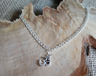 """Beautiful silver plated 'Om' symbol charm anklet 9-11"""" - ankle bracelet / body jewellery"""