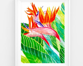 Bird of Paradise, Watercolor print, Printable art, Watercolor painting, Printable Art, Printable watercolor, Instant Download, wall art