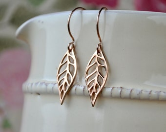 Filigree Earrings, Rose Gold Leaf Earrings, UK, Bridal Leaf Earrings, Modern Rose Gold Earrings, Leaf Jewelry, Rose Gold Gift for Women