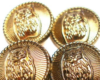 """OWL Buttons, 4 vintage metal in antiqued brass. 11/16"""""""
