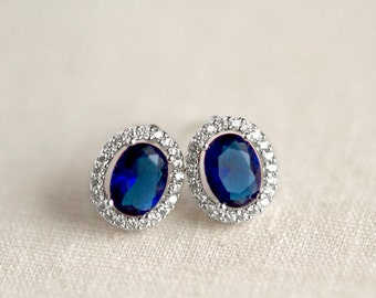Blue Sapphire Earrings, Bridal Earrings, CZ Crystal, Oval Halo Stud, Blue Crystal Studs, Wedding Jewelry Something Blue, Mother Of The Bride