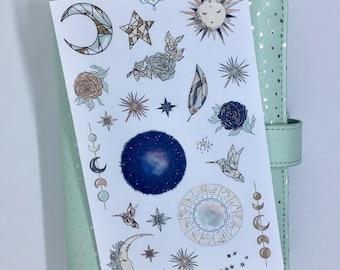 Celestial planner stickers, galaxy stickers, Childrens stickers, scrapbooking, journalling, Night sky planner stickers, DEC006
