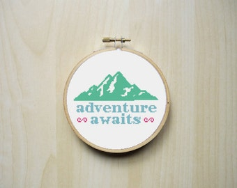 Adventure Awaits Mountains Modern Cross Stitch Pattern | Instant PDF Download