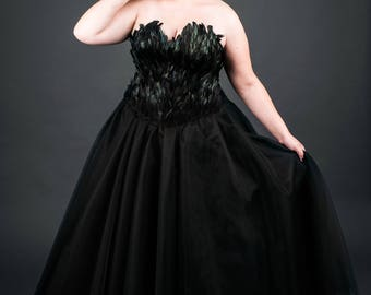 Black Swan Feather Couture Corset Full Length Tulle Gown Plus Size