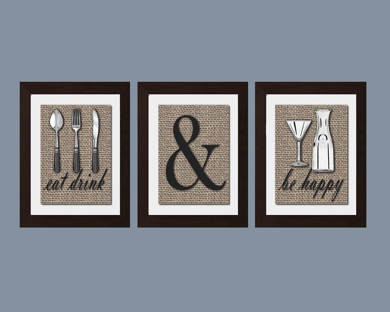 Shabby Chic Küche Kunst Essen trinken und sein Frohe Druck
