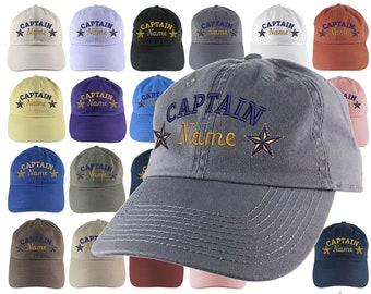 Custom Personalized Captain First Mate Skipper Crew Embroidery on Your Selection of Adjustable Unstructured Baseball Cap Dad Hat + Option