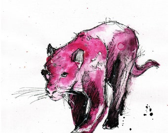 8x12 Ink sketch painting on canvas A4 - fuchsia pink panther