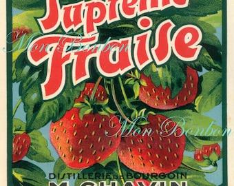 Digital Download of Large 8x10 Vintage French Supreme Fraise Label - No. 1111 - DIY Printables - INSTANT DOWNLOAD