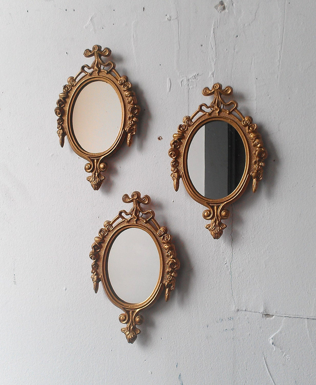 Gold Mirror Set Small Decorative Vintage Frames Mid Century