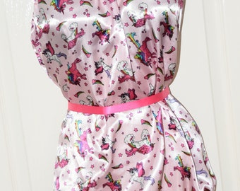 Silky buttery soft unicorn satin all-in-one teddy, soft  & silky soft lounging wear, Sissy Lingerie