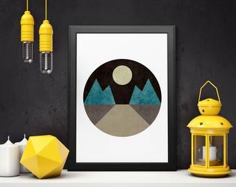 Minimalist Print, Geometric Art, Wall Art Print, Mountains Art, Printable Art, Wall Decor, Modern Art Print, Instant Download, Landscape Art