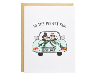 Perfect Pair, Corgi Wedding Card, Dog Wedding Card, Wedding, Engagement, Just Wed, Just Married, Corgi Engagement Card
