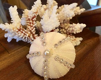 Embellished Purple/White Sea Urchin Craft  -For Wedding Table Top Or Floral Arrangement