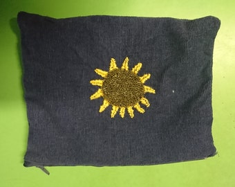 Embroidered Sun pencil case