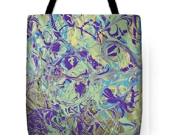 Custom Designed Tote bag, tote bag, beach bag, travel bag, shopping bag, market bag, Abstract, Green Tote Bag