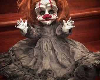 Rowan Creepy Scary Clown OOAK vinyl  Horror doll