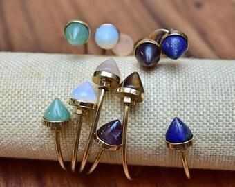 Double Gemstone Point Gold Cuff Bracelet/ Gemstone Gold Natural Mineral Gemstone Stone/ Point Cone Shape Mineral Gem Stone (BTA12)