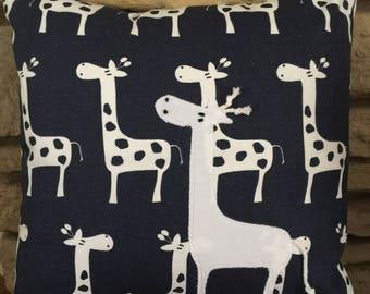 Animal Nursery Pillow , Giraffe Pillow, Navy and White