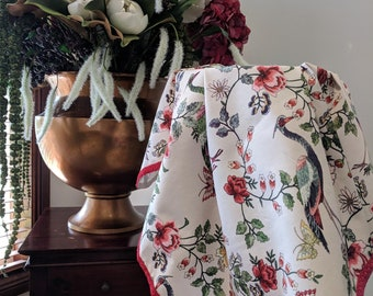Beautiful Floral baby wrap with birds and red braid trim
