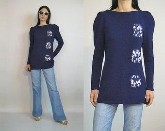 Neiman Marcus Dotted Wool Sweater / Vintage 1980s Navy Blue Raul Blanco Hand Loomed Sweater / 80s Wool Puffed Sleeve Sweater