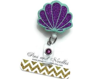 Summer ID Badge Reel - ID Badge Holder - Retractable Badge Reel - Badge Reel - Fun ID Badge Reel - Mint and Purple Sea Shell Id Badge