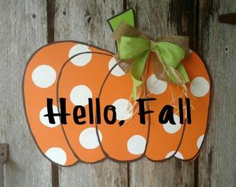 Pumpkin Door Hanger, Fall Door Hanger, Fall Pumpkin Door Hanger, Punkin' door hanger
