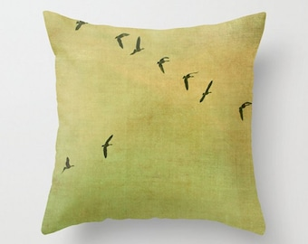 Birds Pillow Cover, Nature Photography, Green, Tan, Shabby Chic, Geese, Flying South, Soft Tones, Nursery Home Decor, Rustic, Wildlife Photo