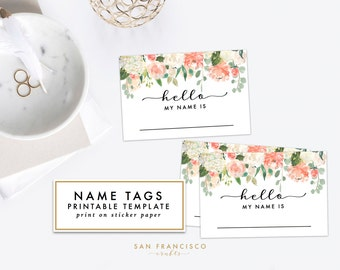 Printable Floral Name Tag - Bridal Shower, Baby Shower, Rehearsal Dinner, Name Tag - Heather Collection - INSTANT Download PDF File