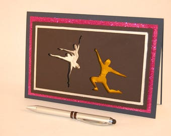 3D Greeting Card, 3D Art Card, 3D Silhouette Card -- Ballet Card 2