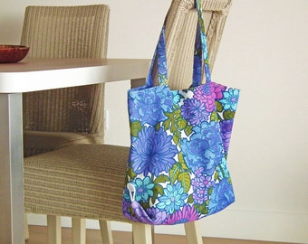Handmade Boho Beach Bag, Funky Florals, 70s Upcycled Fabric, Boho Summer Bag, Market bag, Blue Florals, Vintage Fabric Tote, UK Seller