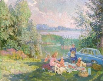 "The original picture of Ukrainian artist Yuzefovich N.V. ""Summer on the Dnieper"" 1975"