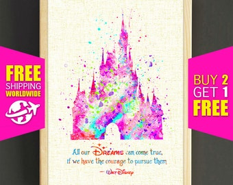Disney Castle Print, Cinderella Castle Print, Disney Quotes, Watercolor Painting, Home Decor, Wall Art, Gifts - FREE SHIPPING - Gifts -482