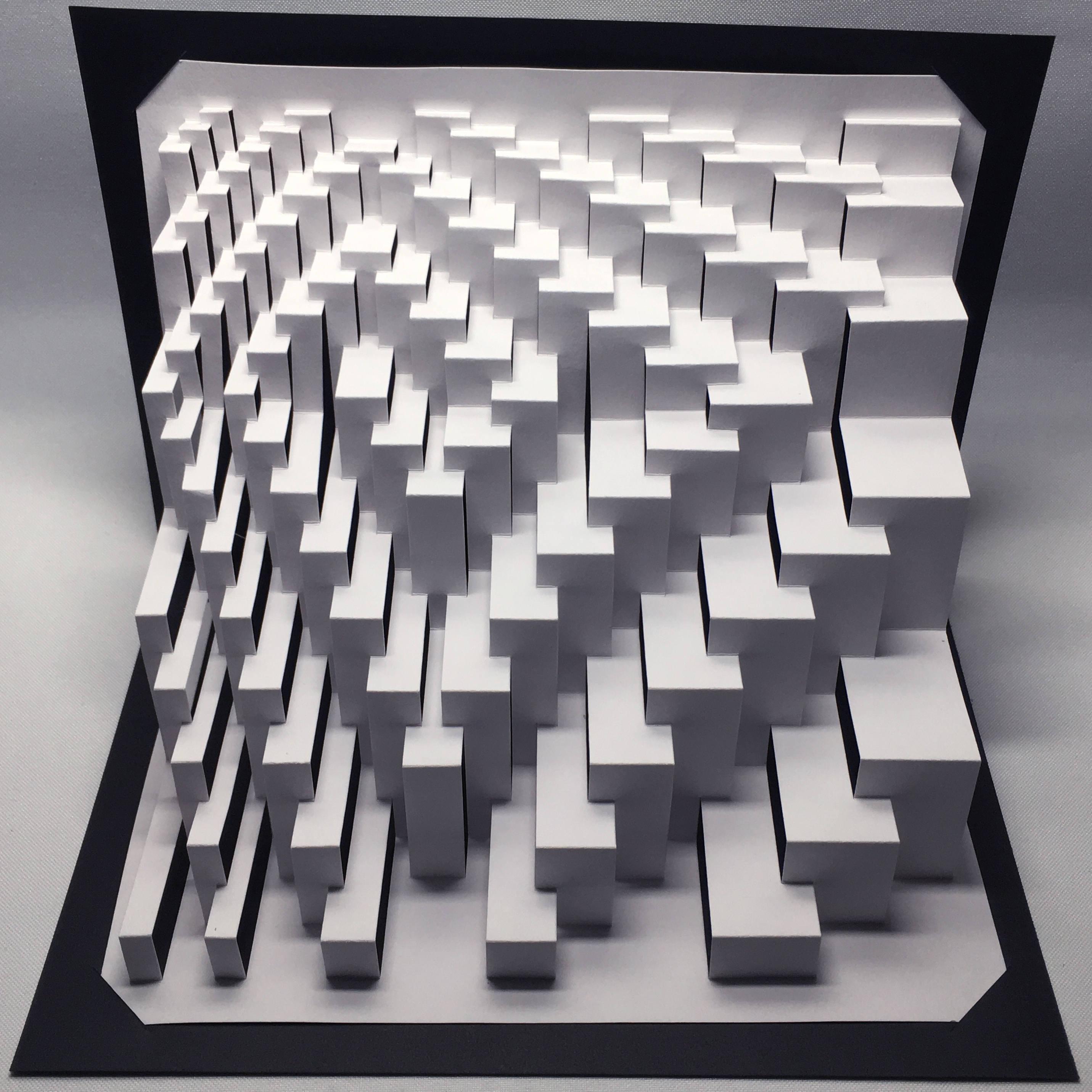 Quadroid Spiral : kirigami pop-up paper sculpture