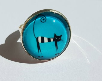 Turquoise blue cat ring