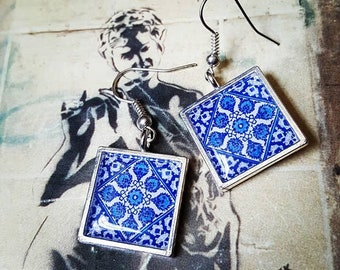 Cornflower Tile Earrings