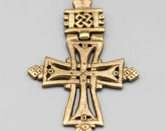 Coptic Ethiopian Brass Cross with Hinge 3 1/4in x 2in Hole is 2mm SKU-PENB-55