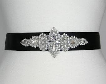 Black Grosgrain Bridal Sash, Bridal Belt, Wedding Belt, Bridesmaid Belt, Flower Girl Dress Sashes, Pearl and Crystal Rhinestone Belts, LANA