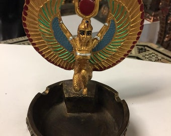 Unique Egyptian Goddess  Isis  ASHTRAY Hand Carved Made in Egypt