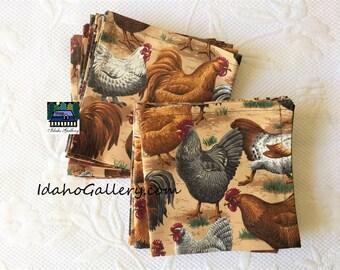 Fabric Napkins Free Range Chicken Set of 12 Napkins Country Farm Animals Sustainable Reusable Go Green Gift Idea Ready to Ship