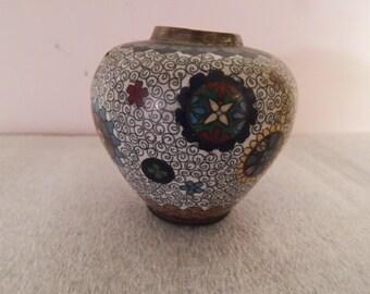 """Cloisonne Chubby Vase . 3"""" Tall"""