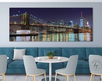 NYC Panorama Photo Metal Print Brooklyn Bridge New York City Skyline Large Wall Art Aluminum Print Manhattan at Night Living Room Home Decor