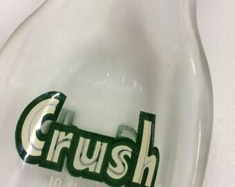 Slumped Bottle Spoon Rest - Vintage Crush Bottle - Spoon Rest - Melted Bottle Spoon Rest - Vintage Crush Bottle - Recycled Bottle Spoon Rest