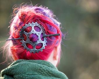 Steampunk Gear Leather Hair Barrette, SCA, LARP, VICTORIAN
