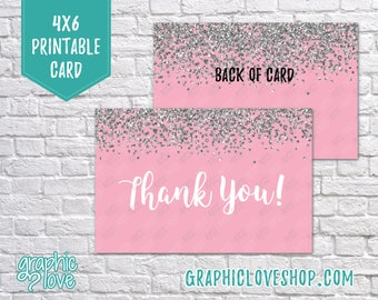 Digital 4x6 Pink Silver Glitter Thank You Card - Folded or Postcard | High Resolution JPG Files, Instant Download, Ready to Print