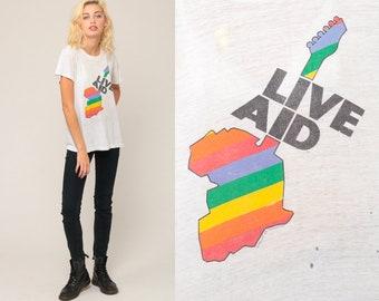 Live Aid Shirt ORIGINAL Vintage Retro TShirt 1985 Music Festival Concert Band Tee Burnout T Shirt 80s Paper Thin Tee Graphic Large