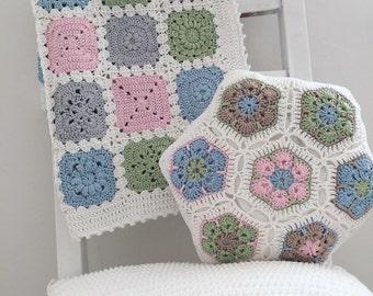 African flower - crochet pillow